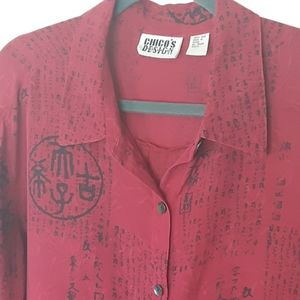 Chico's DESIGN red and black 100% silk top, XL/16